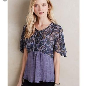 Anthropologie One Fine Day Purple Floral Sheer Top
